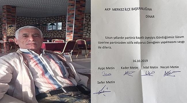 Ak Parti Dinar'da Sefer Metin Ailesi ile birlikte istifa dilekçesini hazırladı