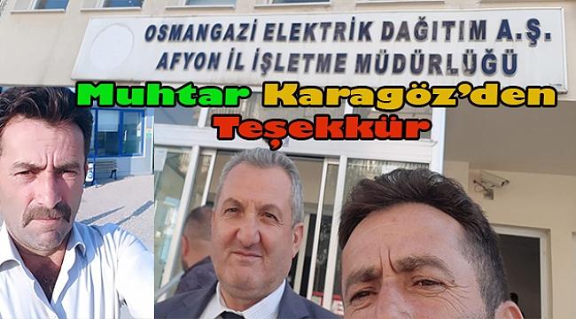 Akgün Köyü Muhtarı Serdar Karagöz'den Teşekkür