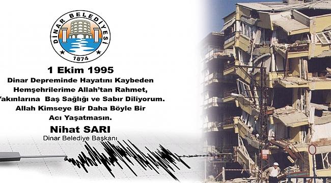 Belediye Başkanı Nihat Sarı'dan 1 Ekim Deprem Şehitlerini Anma Mesajı