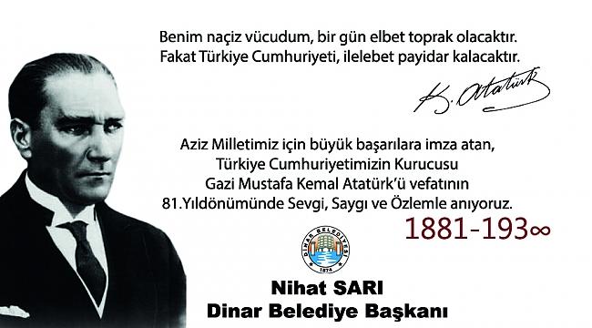 Başkan Sarı'dan 10 Kasım Mustafa Kemal Atatürk'ü Anma mesajı