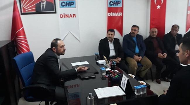 Dinar Muhtarlar Derneği CHP İlçe Örgütünü Ziyaret Etti