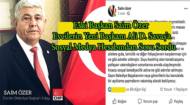 CHP li Eski Başkan Özer'den, Ak Partili Yeni Başkan Savaş'a Sorular