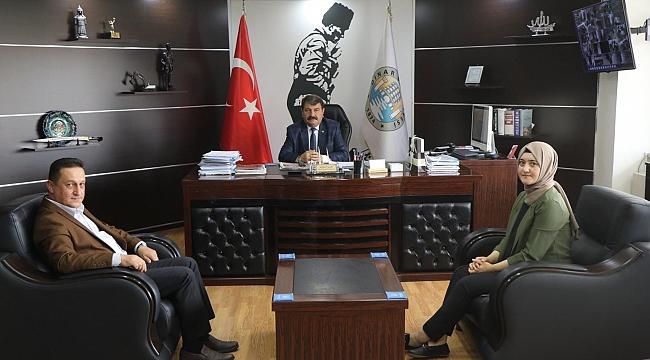 Dinar Yeni Halk Bankası Müdürü Akkaya'dan Başkan Nihat Sarı'ya Ziyaret