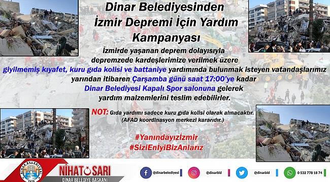 Dinar Belediyesinden İzmir Depremi İçin Yardım Kampanyası