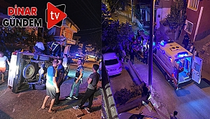 Dinar'da Kamyonet Merdivenlere Çarparak Devrildi